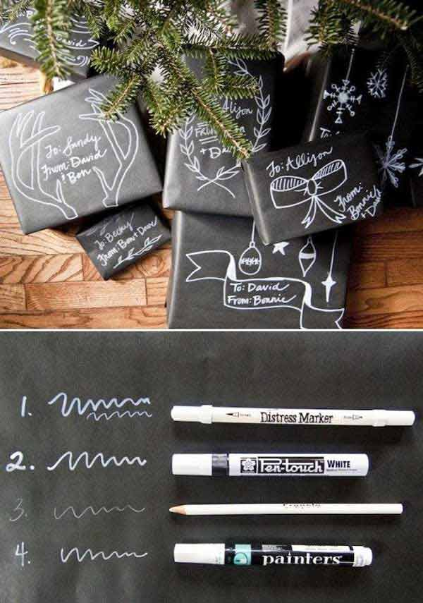 for those with a flair for drawing, some chalkboard paper and marker are the medium for you (via)